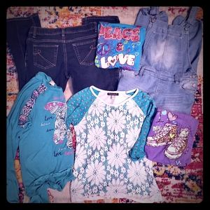 EUC! L10/12 girl lot of 6. Overalls/4 shirts/jeans